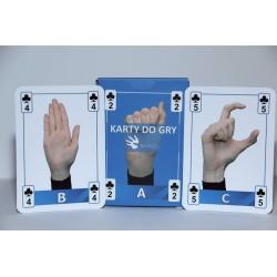 Karty do gry i nauki PJM. Alfabet i układy dłoni